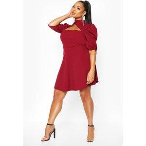 Boohoo Womens Plus Choker Cut Off Puff Sleeve Peplum Dress - Red - 26, Red Pzz66675293352 Womens Dresses & Skirts, Red