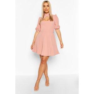 Boohoo Womens Plus Choker Cut Off Puff Sleeve Peplum Dress - Pink - 20, Pink Pzz6667510768 Womens Dresses & Skirts, Pink