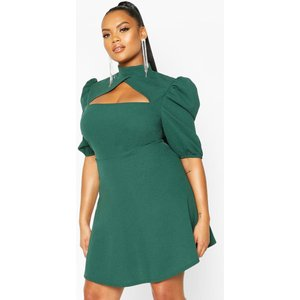 Boohoo Womens Plus Choker Cut Off Puff Sleeve Peplum Dress - Green - 18, Green Pzz6667539951 Womens Dresses & Skirts, Green