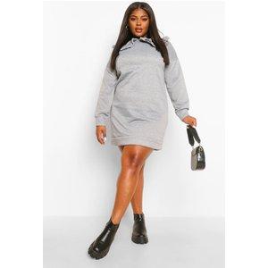 Boohoo Womens Plus Collar Detail Sweat Dress - Grey - 26, Grey Pzz00002265352 Womens Dresses & Skirts, Grey