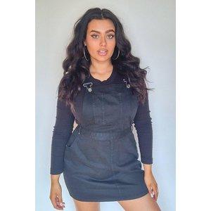 Boohoo Womens Plus Denim Dungaree Pinafore Dress - Black - 18, Black Pzz6624410551 Womens Dresses & Skirts, Black