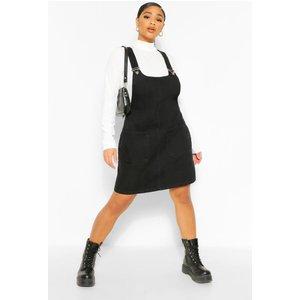 Boohoo Womens Plus Denim Pocket Pinafore Dress - Black - 20, Black Pzz6129110568 Womens Dresses & Skirts, Black