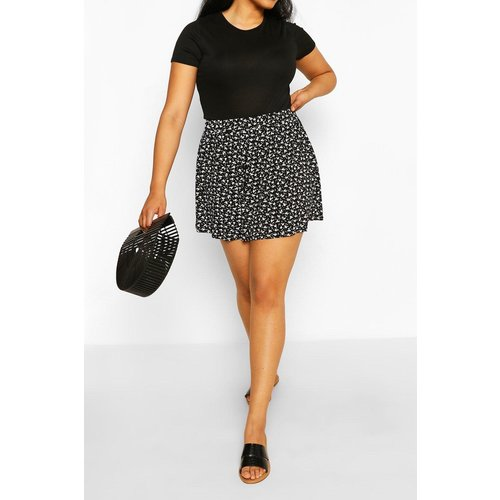 Boohoo Womens Plus Ditsy Floral Flippy Short - Black - 24, Black Pzz64508105351 Womens Dresses & Skirts, Black