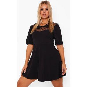 Boohoo Womens Plus Dobby Mesh Collar Skater Dress - Black - 16, Black Pzz0010910524 Womens Dresses & Skirts, Black