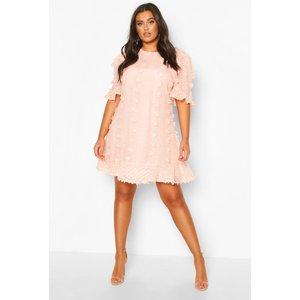 Boohoo Womens Plus Dobby Mesh Ruffle Smock Dress - Pink - 16, Pink Pzz6766010724 Womens Dresses & Skirts, Pink