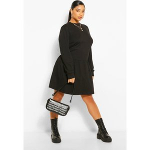 Boohoo Womens Plus Drop Hem Jersey Smock Dress - Black - 22, Black Pzz61149105350 Womens Dresses & Skirts, Black