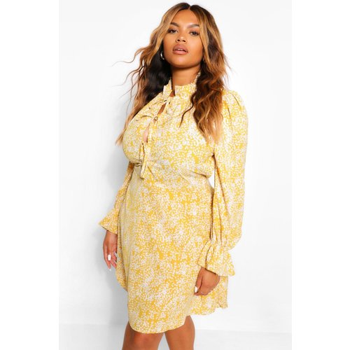 Boohoo Womens Plus Floral Lace Up Detail Skater Dress - Yellow - 22, Yellow Pzz61506146350 Womens Dresses & Skirts, Yellow