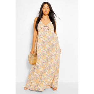 Boohoo Womens Plus Floral Tie Front Maxi Dress - Brown - 26, Brown Pzz62604166352 Womens Dresses & Skirts, Brown