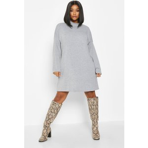 Boohoo Womens Plus High Neck Drop Shoulder Sleeved T-shirt Dress - Grey - 18, Grey Pzz6979113151 Womens Dresses & Skirts, Grey