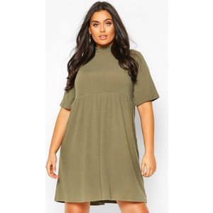 Boohoo Womens Plus High Neck Rib Knit Smock Dress - Green - 18, Green Pzz6657913551 Womens Dresses & Skirts, Green