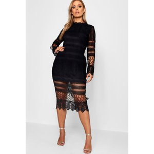 Boohoo Womens Plus Lace Panelled Midi Dress - Black - 18, Black Pzz7869810551 Womens Dresses & Skirts, Black