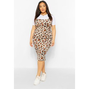 Boohoo Womens Plus Leopard 2 In 1 Pinafore Dress - Brown - 28, Brown Pzz60643166266 Womens Dresses & Skirts, Brown