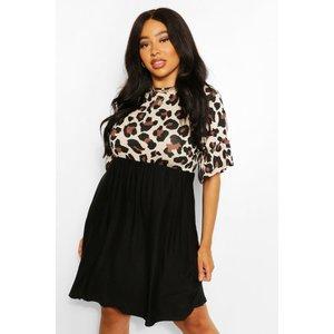 Boohoo Womens Plus Leopard Contrast Smock Dress - Black - 28, Black Pzz63347105266 Womens Dresses & Skirts, Black