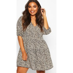 Boohoo Womens Plus Leopard Puff Sleeve Sweat Smock Dress - Beige - 20, Beige Pzz6859816568 Womens Dresses & Skirts, Beige