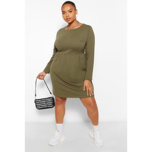 Boohoo Womens Plus Long Sleeve Crew Neck Smock Dress - Green - 20, Green Pzz6176413568 Womens Dresses & Skirts, Green