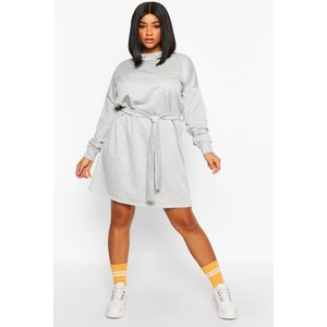 Boohoo Womens Plus Loopback Waist Belt Sweat Dress - Grey - 24, Grey Pzz68638131351 Womens Dresses & Skirts, Grey