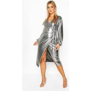 Boohoo Womens Plus Metallic Wrap Detail Midi Dress - Grey - 26, Grey Pzz68692163352 Womens Dresses & Skirts, Grey
