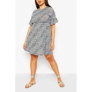 Boohoo Womens Plus Mixed Floral Ruffle Sleeve Smock Dress - Blue - 26, Blue Pzz63340106352 Womens Dresses & Skirts, Blue