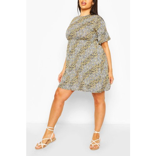 Boohoo Womens Plus Mixed Floral Ruffle Sleeve Smock Dress - Yellow - 28, Yellow Pzz63340146266 Womens Dresses & Skirts, Yellow