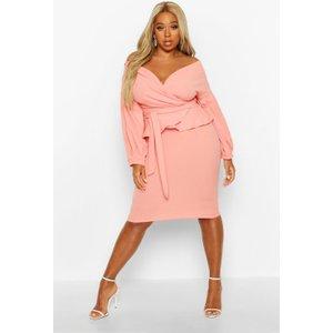 Boohoo Womens Plus Off The Shoulder Wrap Peplum Dress - Pink - 16, Pink Pzz7000062424 Womens Dresses & Skirts, Pink