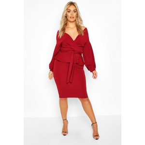 Boohoo Womens Plus Off The Shoulder Wrap Peplum Dress - Red - 24, Red Pzz70000293351 Womens Dresses & Skirts, Red