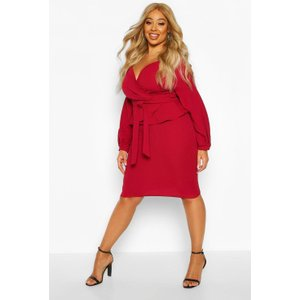 Boohoo Womens Plus Off The Shoulder Wrap Peplum Dress - Red - 22, Red Pzz70000104350 Womens Dresses & Skirts, Red