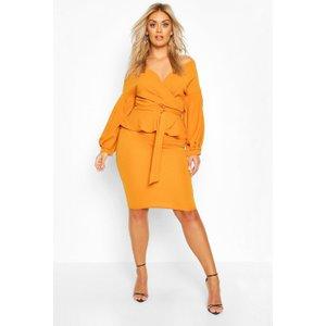 Boohoo Womens Plus Off The Shoulder Wrap Peplum Dress - Yellow - 24, Yellow Pzz70000146351 Womens Dresses & Skirts, Yellow