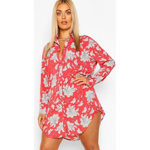 Boohoo Womens Plus Paisley Printed Shirt Dress - Red - 18, Red Pzz6199215751 Womens Dresses & Skirts, Red