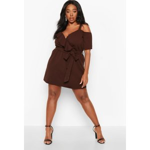Boohoo Womens Plus Plunge Ruffle Belted Mini Dress - Brown - 24, Brown Pzz71254186351 Womens Dresses & Skirts, Brown