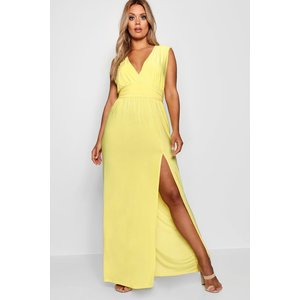 Boohoo Womens Plus Plunge Slinky High Split Maxi Dress - Yellow - 22, Yellow Pzz81013174350 Womens Dresses & Skirts, Yellow