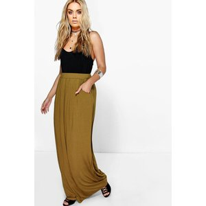 Boohoo Womens Plus Pocket Front Jersey Maxi Skirt - Green - 26, Green Pzz94867151352 Womens Dresses & Skirts, Green