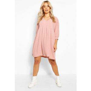 Boohoo Womens Plus Puff Sleeve Rib Smock Dress - Pink - 24, Pink Pzz64792389351 Womens Dresses & Skirts, Pink