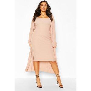Boohoo Womens Plus Rib Midi And Kimono Dress - Beige - 16, Beige Pzz6581416124 Womens Dresses & Skirts, Beige