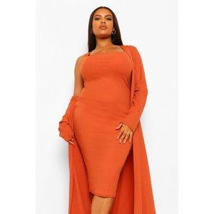 Boohoo Womens Plus Rib Midi And Kimono Dress - Orange - 28, Orange Pzz65814208266 Womens Dresses & Skirts, Orange