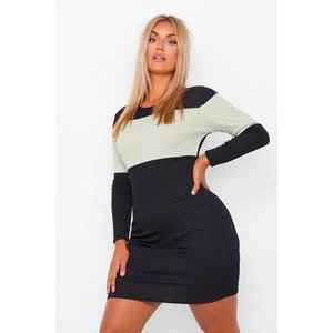 Boohoo Womens Plus Rib Stripe Mini Dress - Black - 28, Black Pzz60080105266 Womens Dresses & Skirts, Black