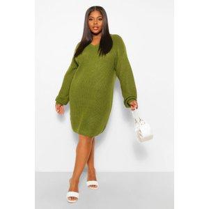 Boohoo Womens Plus Rib V Neck Jumper Dress - Green - 24-26, Green Pzz63258135726 Womens Dresses & Skirts, Green