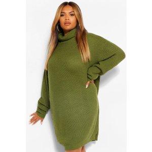 Boohoo Womens Plus Roll Neck Jumper Dress - Green - 20-22, Green Pzz63257135362 Womens Dresses & Skirts, Green