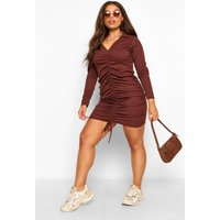 Boohoo Womens Plus Ruched Rib Collar Mini Dress - Brown - 28, Brown Pzz60068186266 Womens Dresses & Skirts, Brown