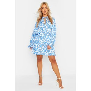 Boohoo Womens Plus Ruffle Porcelain Print Dress - Blue - 20, Blue Pzz7071610668 Womens Dresses & Skirts, Blue