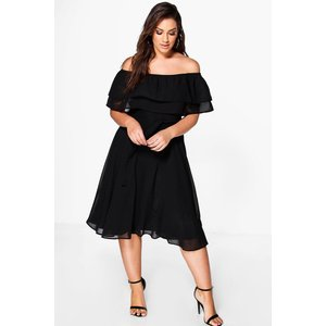 Boohoo Womens Plus Ruffle Tie Waist Skater Dress - Black - 20, Black Pzz9196910568 Womens Dresses & Skirts, Black