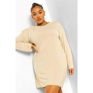 Boohoo Womens Plus Seam Detail T-shirt Dress - Beige - 16, Beige Pzz5972616524 Womens Dresses & Skirts, Beige