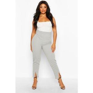 Boohoo Womens Plus Seamed Front Split High Waisted Trousers - Grey - 22, Grey Pzz69356131350 Womens Trousers, Grey
