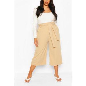 Boohoo Womens Plus Self Belt Structured Culotte Trouser - Beige - 24, Beige Pzz73658165351 Womens Trousers, Beige