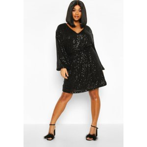 Boohoo Womens Plus Sequin Belted Blouson Sleeve Wrap Dress - Black - 24, Black Pzz70361105351 Womens Dresses & Skirts, Black