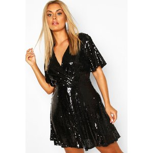 Boohoo Womens Plus Sequin Wrap Sleeve Skater Dress - Black - 18, Black Pzz7037910551 Womens Dresses & Skirts, Black