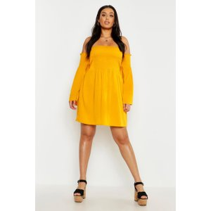 Boohoo Womens Plus Shirred Flare Sleeve Bardot Skater Dress - Yellow - 22, Yellow Pzz73481146350 Womens Dresses & Skirts, Yellow