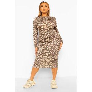 Boohoo Womens Plus Shoulder Pad Leopard Midi Dress - Beige - 28, Beige Pzz59453165266 Womens Dresses & Skirts, Beige