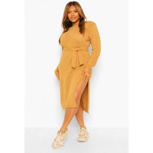 Boohoo Womens Plus Shoulderpad Knitted Jumper Dress - Beige - 20-22, Beige Pzz59069111362 Womens Dresses & Skirts, Beige