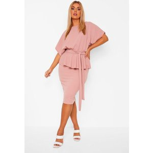 Boohoo Womens Plus Slash Neck Peplum Dress - Pink - 18, Pink Pzz0024610751 Womens Dresses & Skirts, Pink