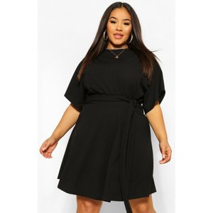 Boohoo Womens Plus Slash Neck Tie Waist Skater Dress - Black - 16, Black Pzz6093910524 Womens Dresses & Skirts, Black